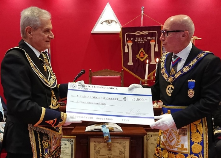 District Grand Lodge of Cyprus donates €15,000 to help those affected by Greece wildfires